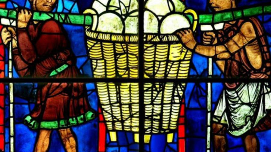 Detalle de uno de los vitrales del coro de la catedral de Chartres (París, Francia), donado por el gremio de panaderos. La importancia de dicho grupo se refleja en que aparecen representados varias veces en el conjunto de vitrales dedicado a la historia de los Apóstoles (construido entre 1210–1225).